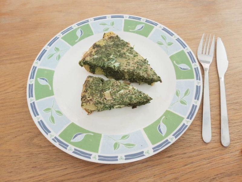 spinazie-aardappel omelet