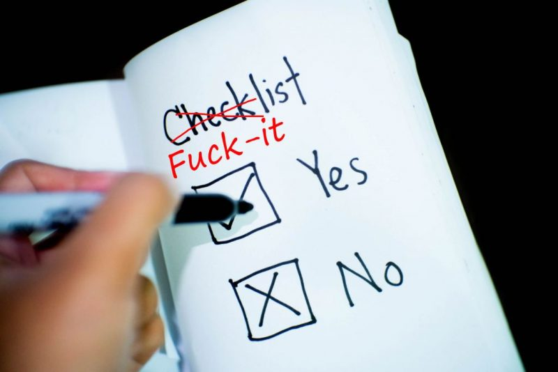 fuck-it list, checklist