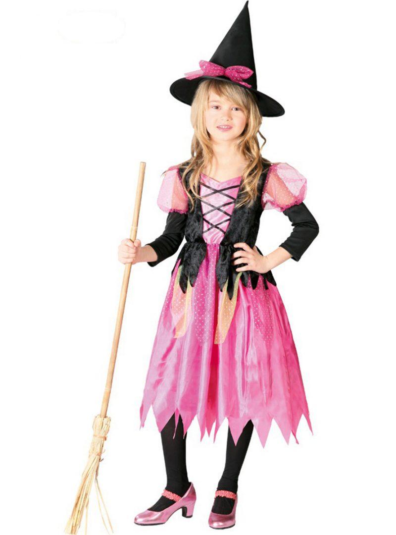 roze heks, halloween kostuum, meisje